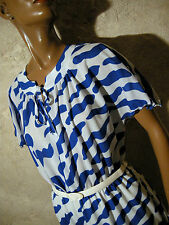 CHIC VINTAGE ROBE 1970 1980 VTG DRESS 70s 80S MOD GRAPHIC KLEID ABITO (42)