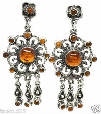 Taxco Mexican 925 Sterling Silver Vintage Style Amber Earrings Mexico
