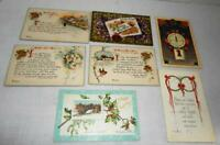 Lot of 7 HAPPY NEW YEAR Post Cards - Early 1900's