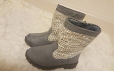 """CHEROKEE BOOTS GIRLS GREY """"DACEY"""" KNITTED SIZE 8"""