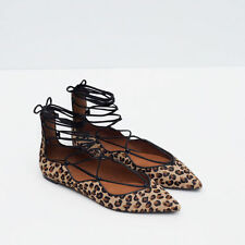 Zara printed leather lace-up ballerinas  size:8, EUR 39