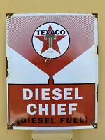 "VINTAGE TEXACO DIESEL CHIEF PORCELAIN SIGN USA FUEL GAS PUMP PLATE 16 X 13"" Oil"