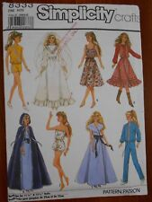 "Ff Simplicity Barbie Fashion Doll 11 1/2"" Wardrobe Date 1987 Sewing Pattern #833"