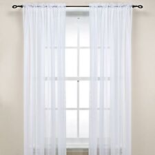 "2-Piece Sheer Voile Window Treatment Curtain Short Panel 63"" Long Solid Colors"