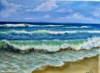 "Art12""/9""oil painting, seascape, landscape,ocean waves,beach, wood frame canvas"