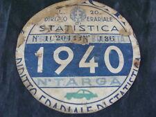 BOLLO 1940 REALE AUTOMOBILE CLUB ORIGINALE PER FIAT LANCIA BIANCHI ALFA ROMEO