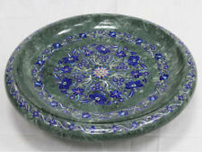 "12"" Fruit bowl green marble inlay collectible handmade art piece decor"