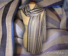 Très belle étole en Laine et en Soie rayures multicolores - LS14