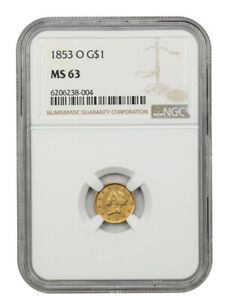 1853-O G$1 NGC MS63 - Popular New Orleans Gold Dollar - 1 Gold Coin