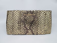 Michael Kors Daria Embossed Snakeskin Gold Pleated Leather Clutch Purse MK