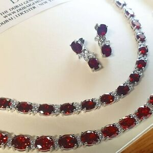 White gold finish Red ruby and created diamonds necklace bracelet earrings GIFT