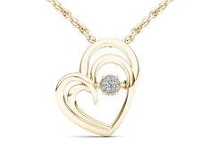 Solid 10k Yellow Gold 0.04Ct Round Cut Diamond Heart Beat Pendant Necklace HI I2
