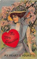D80/ Valentine's Day Love Holiday Postcard c1910 Woman Large Hat Heart Yours 7