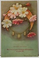 The Cosmos and the Opal Embossed Flowers Crescent Moon Charms 1909 Postcard H18