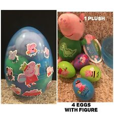 "1 New 6"" Jumbo Egg With 4 PEPPA PIG PLASTIC SURPRISE EGGS W/FIGURE And Plush"