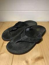 Chaco Mens Black Leather Slip On Open Toe Flip Flops Size 11 US / 10 UK