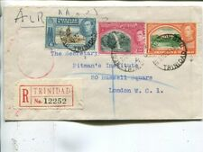 Trinidad & Tobago reg air mail cover to London1943