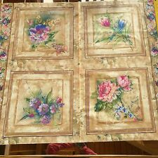 REGAL FLORAL fabric 4 QUILT BLOCKS monet-like floral print  for SEWING QUILTING
