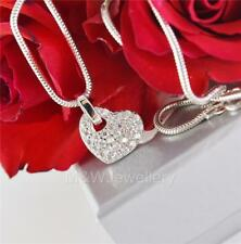 Solid 925 Sterling Silver Rhodium Plated Necklace HEART White Zirconia