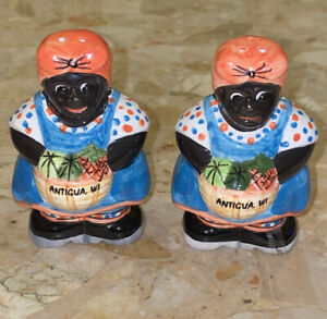 Antigua Island Lady Woman Ceramic Hand Painted Salt & Pepper Shaker Set 3.25""