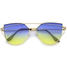 Gafas de sol de mujer degradadas azul de metal