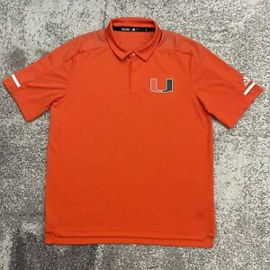 Adidas NCAA Miami Hurricanes Polo Shirt Mens Large