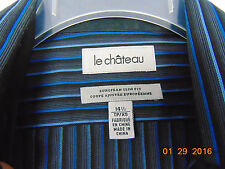 Le Chateau Mens Long Sleeve Dress Shirt  Stripe Black /Navy Blue Size 14 1/2