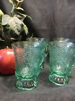 Set of 4 Tiara Indiana Glass footed 8oz mugs green glass pine cone pattern 4.5""