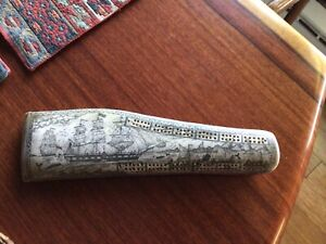 SCRIMSHAW Cribbage Board History Nautical Game Replica? Unknown Sailing Navy