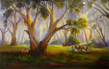 Original oil Australian landscape painting Pastoral cows in bush Vidal
