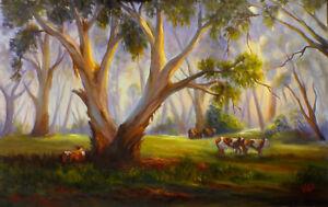 Original oil Australian landscape painting Pastoral cows in bush Vidal