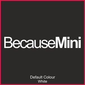 Because Mini Decals x2, Vinyl, Sticker, Graphics, Car, Novelty, EURO, N2119