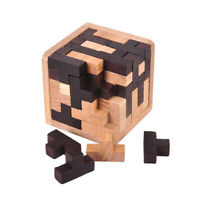 Kids Adults Brain Teaser Early Learning 3D Wooden Building Blocks Burr Puzzle.