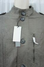 Perry Ellis Mens Faux Leather Jacket Sz XL Castlerock Grey Flight Bomber