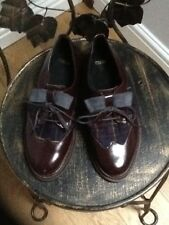 Asos leather and tartan brogues with suede bow UK 3
