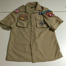 Boy Scouts Of America Youth Medium Short Sleeve Button Shirt Tan Patches