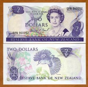 New Zealand, $2, ND (1989-1992), P-170c, QEII, UNC > Last Prefix