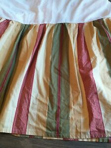 """Waverly Stripe Queen LAUREL SPRINGS PARCHMENT Gold Red Green Bedskirt 15"""""""