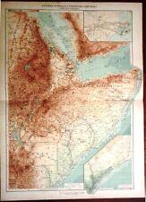 Carta geografica antica AFRICA ERITREA SOMALIA De Agostini 1927 Antique map