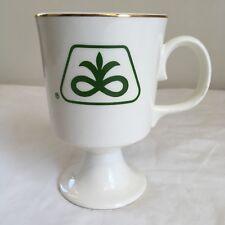 Vtg Pioneer Seed Corn Coffee Tea Mug Cup Footed Gold Trim Green Logo Farming FS!