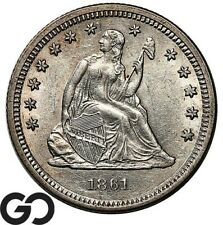 1861 Seated Liberty Quarter, Choice Uncirculated+ Civil War Issue