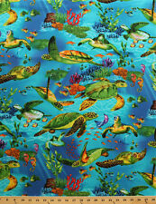 Sea Turtles Underwater Ocean Fish Plants Cotton Fabric Print by the Yard D502.17