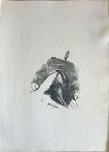 ENNIO CALABRIA incisione 1978 Ispirato a Kierkegaard 70x50 firmata numerata