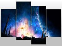 EARTH NEBULA SPACE GALAXY PLANET LARGE SPLIT PANEL 4 PANEL CANVAS WALL ART IMAGE