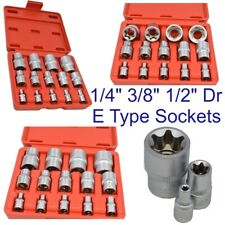 E Type Socket Set 14pc Sockets 1/4 Inch 3/8 Inch 1/2 Inch Drive Set SOC002