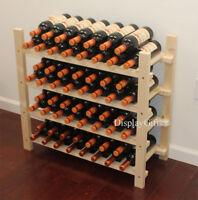 Stackable 60 Bottle Capacity Wine Rack Wooden Stand, WN60 (60 Bottles Capacity)