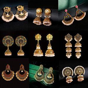 Vintage Gold Silver Bollywood Oxidized Women Pearl Tassel Jhumka Dangle Earring