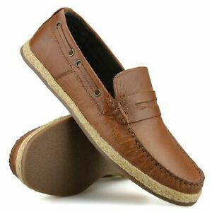 Mens New Leather Slip On Loafers Casual Driving Boat Deck Moccasin Shoes Size
