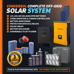 3kW Solar Inverter/Charger Off Grid System.AGM Batteries. Solar Panels 2500W