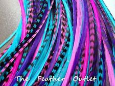 Lot 15 Whiting Grizzly Feathers Hair Extensions saddle long skinny bulk real B1
